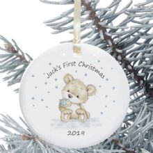 Baby's 1st Christmas Personalised Ceramic Christmas Tree Decoration - Baby Boy Bear Design - New Baby Bauble Holiday Ornament